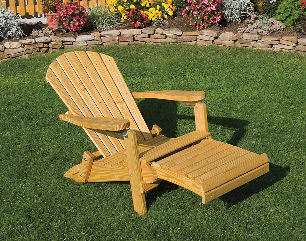 Foldable Adirondack Chair Treated Pine Folding Reclining Adirondack Chair W Footrest