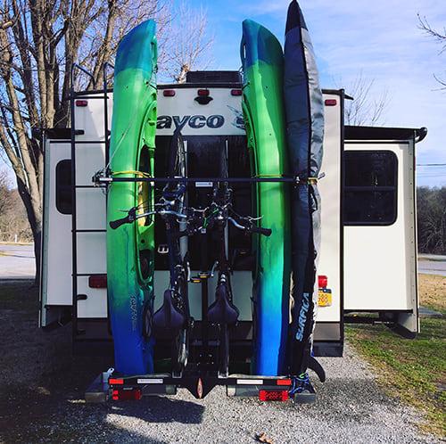 fifth wheel kayak and bike racks