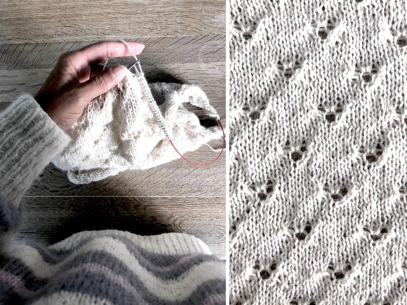 strikket sjal til barndåb