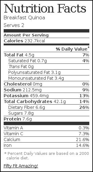 Nutrition label for Breakfast Quinoa