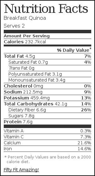 Nutrition label for Breakfast Quinoa