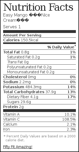 "Nutrition label for Easy Mango ""Nice Cream"""