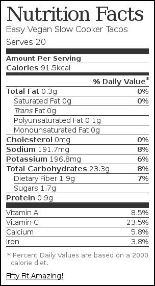 Nutrition label for Easy Vegan Slow Cooker Tacos