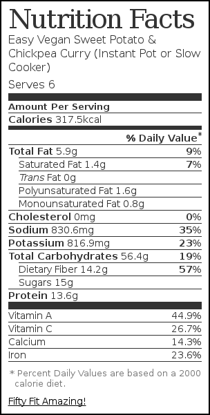 Nutrition label for Easy Vegan Sweet Potato & Chickpea Curry (Instant Pot or Slow Cooker)
