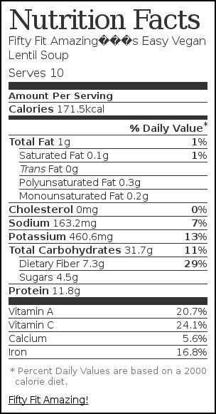 Nutrition label for Fifty Fit Amazing's Easy Vegan Lentil Soup