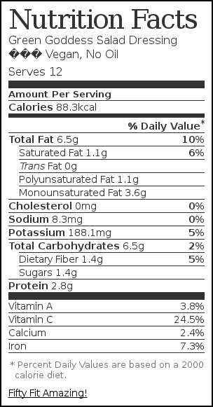 Nutrition label for Green Goddess Salad Dressing – Vegan, No Oil