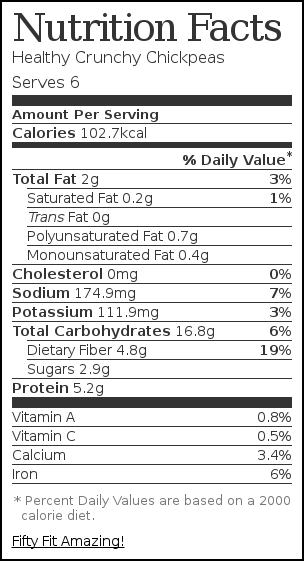 Nutrition label for Healthy Crunchy Chickpeas