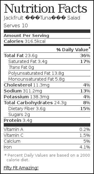 "Nutrition label for Jackfruit ""Tuna"" Salad"