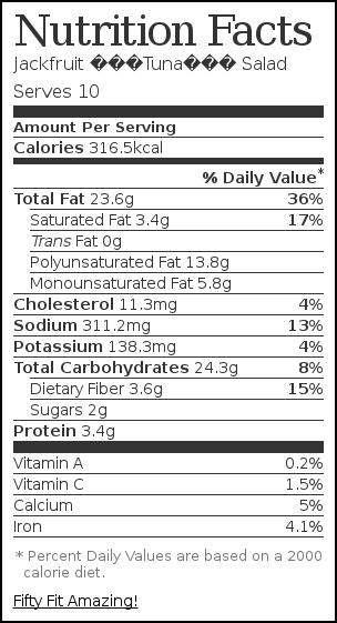 "Nutrition label for Jackfruit ""Tuna"" Salad"