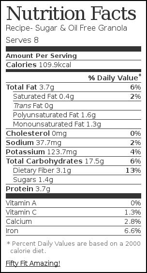 Nutrition label for Recipe- Sugar & Oil Free Granola