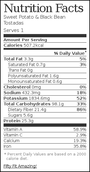 Nutrition label for Sweet Potato & Black Bean Tostadas