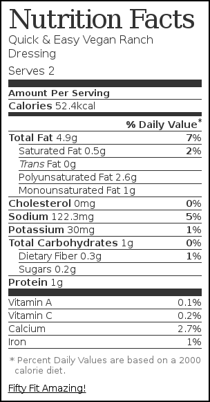 Nutrition label for Quick & Easy Vegan Ranch Dressing