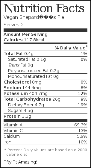 Nutrition label for Vegan Shepard's Pie