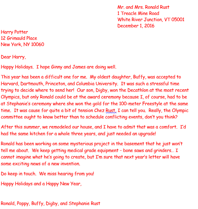Mail Merge to Create Holiday Letters