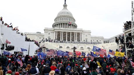 Protesters gather outside the U.S. Capitol Building on January 06, 2021 in Washington, DC.