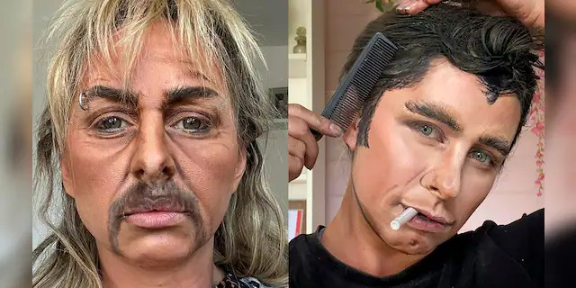 "Lacao, seen here as Joe Exotic (from ""Tiger King"") and John Travolta (by way of Danny Zuko from ""Grease""), claims she fooled her own boyfriend with the former look."