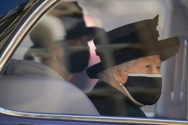 The queen arrives for the service.