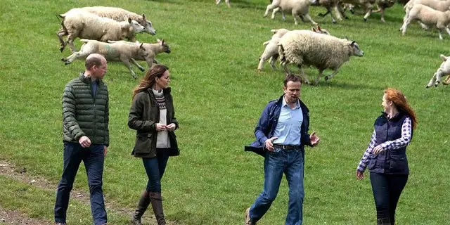 Prince William, Duke of Cambridge and Catherine, Duchess of Cambridge walk with farmer Stewart Chapman and his wife Clare Wise during their visit to Manor Farm in Little Stainton, Durham on April 27, 2021, in Darlington, England.