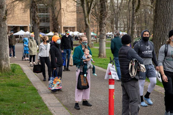 Crowds gathered at the Portland Farmers Market at Portland State University in Portland, Ore., this month.