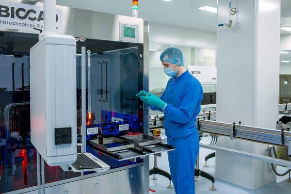 A Sputnik V vaccine production line in Saint Petersburg, Russia in February.
