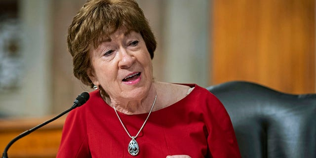 In this June 30, 2020, file photo, Sen. Susan Collins, R-Maine, speaks during a Senate Health, Education, Labor and Pensions Committee hearing on Capitol Hill in Washington. Collins running for reelection to represent Maine in the Senate in the Nov. 3 general election. (Al Drago/Pool via AP, File)