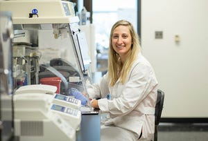 Nicole Chinnici is pictured working in the PA Tick Lab at East Stroudsburg University.