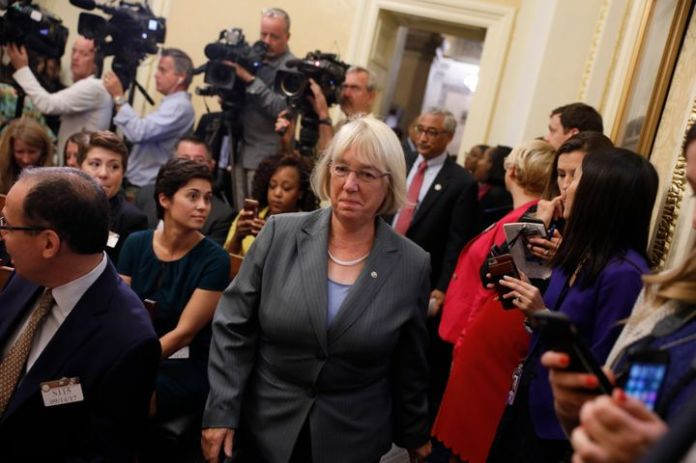 Sen. Patty Murray (D-Wash.) arrives at a news conference on the Child Care for Working Families Act in 2017. Legislation writ
