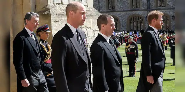 Vice-Admiral Sir Timothy Laurence, Prince William, Duke of Cambridge, Peter Phillips, Prince Harry, Duke of Sussex follow Prince Philip, Duke of Edinburgh's coffin during the Ceremonial Procession during the funeral of Prince Philip, Duke of Edinburgh at Windsor Castle on April 17, 2021, in Windsor, England. Prince Philip of Greece and Denmark was born 10 June 1921, in Greece. He served in the British Royal Navy and fought in WWII. He married the then Princess Elizabeth on 20 November 1947 and was created Duke of Edinburgh, Earl of Merioneth, and Baron Greenwich by King VI. He served as Prince Consort to Queen Elizabeth II until his death on April 9, 2021, months short of his 100th birthday. His funeral took place on Saturday at Windsor Castle with only 30 guests invited due to coronavirus pandemic restrictions.