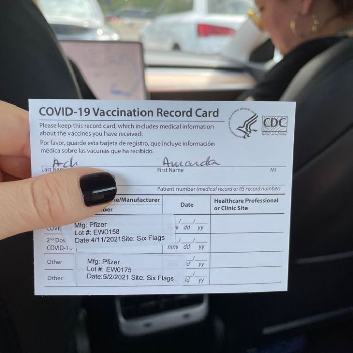 """""""The best experience I've had at a Six Flags,"""" Amanda Ach said of her COVID-19 vaccine at the amusement park in Bowie, Maryland."""