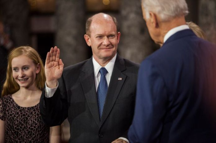 Sen. Chris Coons (D-Del.), a friend of President Joe Biden, is both a top recipient of pharmaceutical industry cash and a str