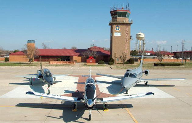 From left: A T-38 Talon, T-6A Texan II, and a T-1 Jayhawk
