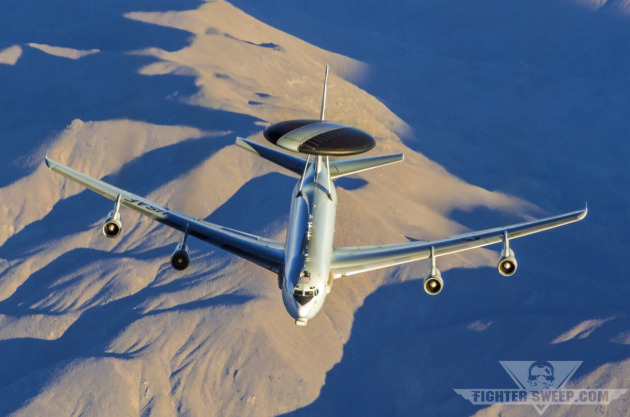 A Boeing E-3C Sentry AWACS (Airborne Warning And Control System) flies during an exercise at Nellis AFB, NV.