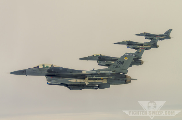 Block 50 F-16CJs of the 55th and 77th Fighter Squadrons from Shaw AFB, SC.