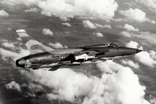 """58-1161 lost 11-22-66 469 TRS  #88 96728 USAF- A camouflaged USAF F-105 """"Thunderchief,"""" armed with AGM-45 """"Shrike"""" missiles, enroute to a target area in North Vietnam.  May 1966.  U.S. Air Force Photo."""