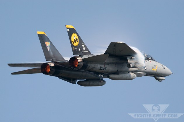The CAG jet from VF-31 tickles the Mach at NAS Oceana during an air show.
