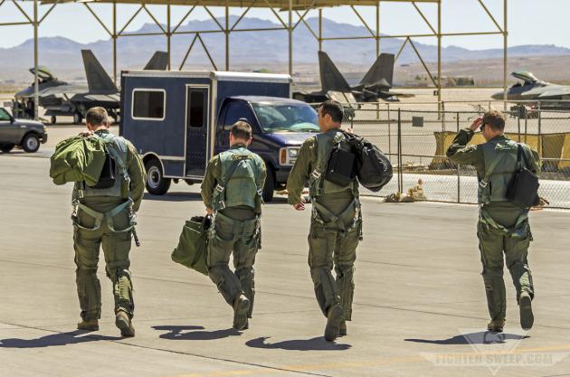 Four F-22A Raptor pilots - U.S. Air Force Weapons School