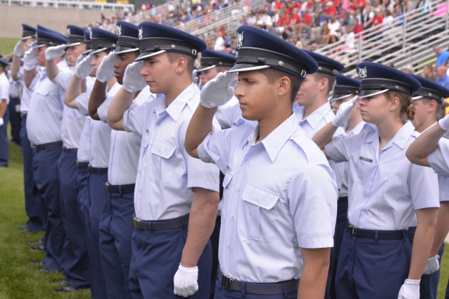 """The Class of 2018 joined the ranks of the Cadet Wing Aug. 5, when basic cadets transitioned to Cadets 4th Class or """"doolies"""" during the Acceptance Parade at the Academy's Stillman Field. (U.S. Air Force photo/Bill Evans)"""