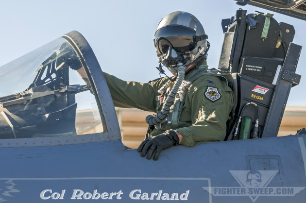 "Colonel Robert ""Shark"" Garland, Commandant of the USAF Weapons School from 2011-2013, prepares to launch for a sortie in support of his institution's Mission Employment phase."