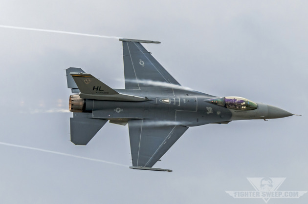 "Captain Garrett ""MACE"" Dover pulls his F-16CG through a high-G turn while demonstrating the tactical capabilities of the aircraft."
