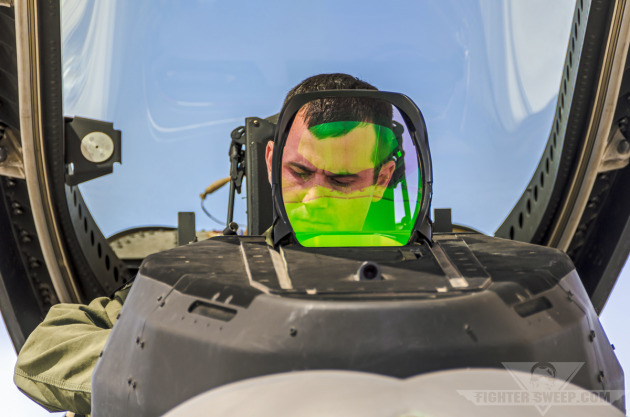 """Fangs"" prepares to launch his F-22A Raptor for a training mission at the USAF Weapons School."