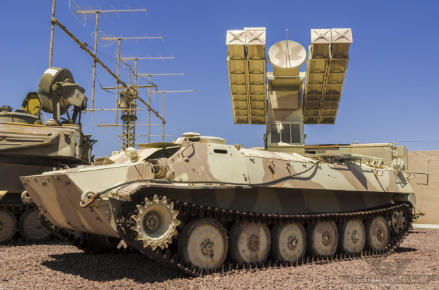 """An SA-13 """"Gopher"""" SAM system on display inside the Threat Training Facility at Nellis AFB, NV."""