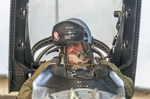 "Lieutenant Colonel Johnny ""Vegas"" Vargas, former ommander of the 77th Fighter Squadron, starts his F-16CJ Fighting Falcon in preparation for a training mission."