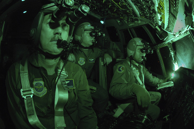 Night time training is critical to the success of the Air Mobility Command. After their mission was complete, this aircrew from the 156th Airlift Squadron shows what the cockpit looks like when they are using their night vision goggles (NVGs) The C-130 they are flying is assigned to the 145th Airlift Wing, North Carolina Air National Guard. Released. Photo by Staff Sgt. Richard M. Kerner N.C. Air National Guard