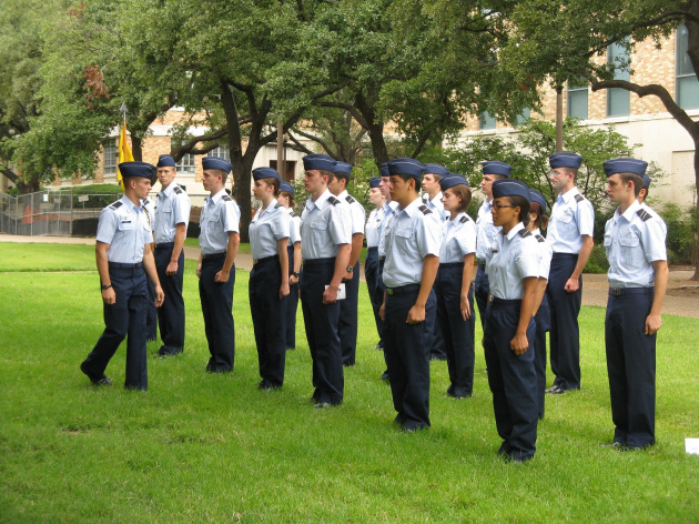 ROTC Cadets take part in a formation exercise during Leadership Lab at the University of Texas. (Photo courtesy of the University of Texas)