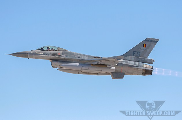 Belgian Air Force Viper FA-89 (80-3580) from the 2nd Tactical Wing in Florennes, departing Nellis AFB on a Red Flag mission.