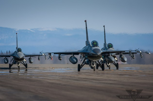 36 FS jets taxi during Red Flag- Alaska.