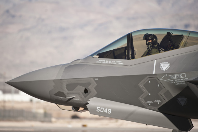 "Capt. Brent ""Sword"" Golden, 16th Weapons Squadron instructor, taxis an F-35A Lightning II at Nellis Air Force Base, Nev., Jan. 15, 2015. The F-35 Golden flew is the U.S. Air Force Weapons School's first assigned F-35. (U.S. Air Force photo by Staff Sgt. Siuta B. Ika"