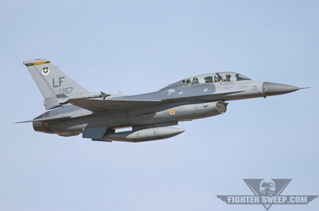 A 310th Fighter Squadron D-Model is beating up the pattern at Luke AFB.