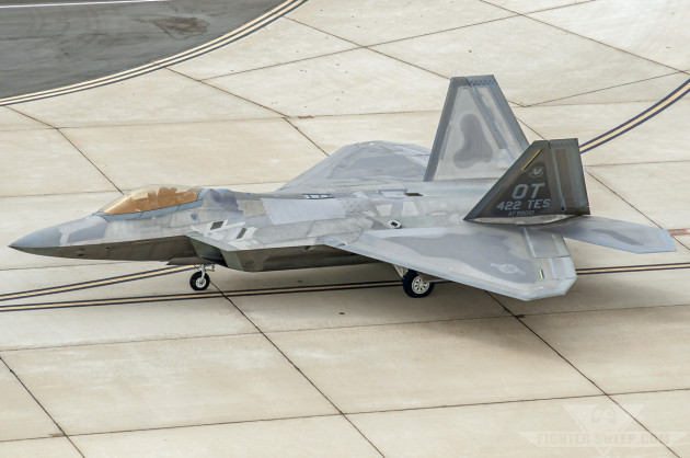 A Raptor assigned to the F-22 Combined Test Force taxis out for a sortie at Edwards Air Force Base, California.