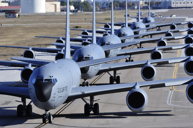 """KC-135 Stratotankers from MacDill's 6th AMW line up during an """"elephant walk"""" (U.S. Air Force photo by Airman 1st Class Shandresha Mitchell)"""